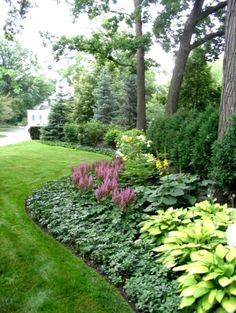 [low maintenance plants – The background is Spruce and Arborvitae. The middle layer is Viburnum, Hydrangea and Ligularia. The foreground is Astilbe, Hosta and Pachysandra.] … Great ideas for the Shade Garden [low maintenance plants – The Plants, Front Yard Landscaping, Outdoor, Shade Garden, Creative Landscape, Low Maintenance Garden, Outdoor Gardens, Landscape, Beautiful Gardens