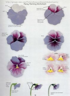 ideas for flowers painting acrylic pansies China Painting, Tole Painting, Fabric Painting, Painting & Drawing, Painting Lessons, Painting Tips, Painting Tutorials, Art Floral, Watercolor Flowers