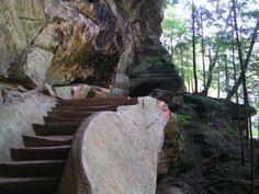 Stairs on trail in Old Man's Cave State Park in Ohio.