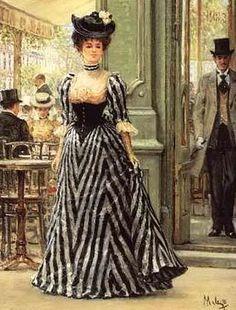 1890s Woman in black stripe dress