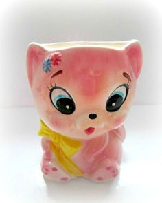 Vintage Planter Pink Ceramic Kitten EO Brody Vase Japan