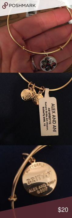 BNWT Alex & Ani gold butterfly bracelet. Received as a gift & just not my thing. Perfect condition. Never worn. Still has tags attached. Alex and Ani Jewelry Bracelets