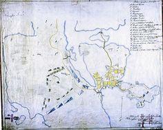 Helsinki 1741. Ruotsalaisten ja venäläisten joukkojen sijainti. Lähde: sinettiarkisto.hel.fi