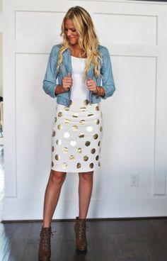 Gold Polka-Dot Skirt