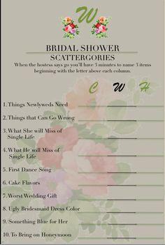 Bridal shower Scattergories using initials of the happy couple. #bridalshower #scattergories