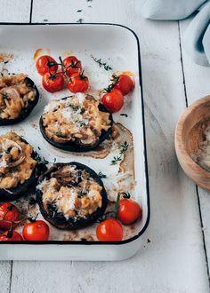 Gevulde portobello's met romige risotto - Uit Pauline's Keuken