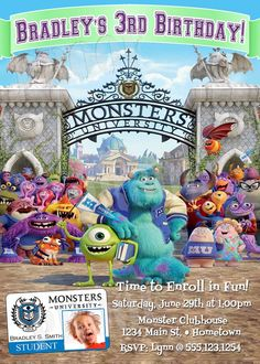 Personalized Monster University Birthday Party Invitations *Need Party Invitations Fast? With our DIY Printing Option, you'll have your files today!*