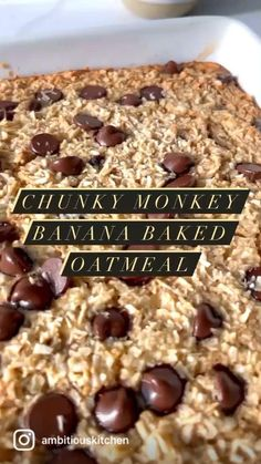 Delicious chunky monkey banana baked oatmeal packed with healthy fats from coconut and walnuts. This easy, healthy banana baked oatmeal recipe is freezer-friendly and naturally sweetened with bananas & pure maple syrup for the perfect breakfast! Add chocolate chips to make it extra special.