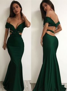 Sexy Off-the-shoulder Prom Dresses Dark Green Cutaway Sides Mermaid Evening Gowns