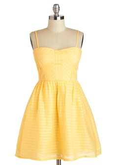 Picnic Me Up Dress - Cotton, Short, Yellow, Solid, Crochet, Casual, Fit  Flare, Spaghetti Straps, Sweetheart, Daytime Party, Summer