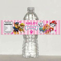 Girls Paw Patrol water bottle label Printable by TonyPartyFavor