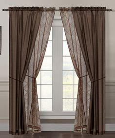 Another great find on #zulily! Safari Sheer Flocked Curtain Panel Set #zulilyfinds