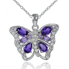 African Amethyst & White Topaz Butterfly Necklace