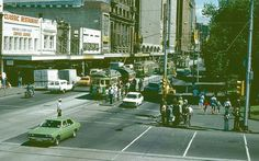 Swanston Street from Flinders st, - showing buildings recently demolished for Metro rail tunnel entrance Australia House, Melbourne Australia, Melbourne Victoria, Victoria Australia, Melbourne Tram, New City, Historical Pictures, Best Cities, Historic Homes
