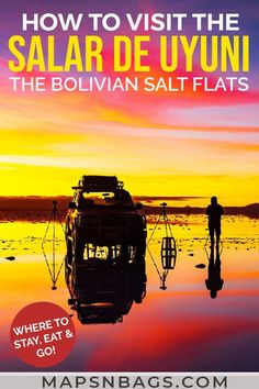 Visiting Salar de Uyuni in Bolivia? Then read this complete guide to spend a night in the world's largest salt flats. It includes where to stay, tours, what to pack, and photography ideas (mirror, sunset, and perspective) to inspire your pictures in this nature wonder.   Salar de Uyuni Bolivia   Bolivian Salt Flats #SaltFlats #SalardeUyuni #BoliviaTravel