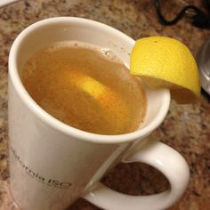 Metabolism booster, cleanser, detoxer: hot water, juice of half a lemon, a couple dashes of cayenne. #cleanse #weightloss
