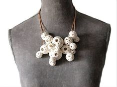 Gorgeous clustered hollow white orb necklace