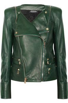 Green leather jacket by Balmain  this is so much better than mine! but that makes sense seeing as mine came from walmart