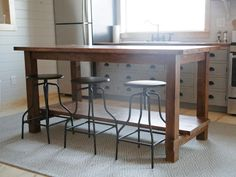 This high top table saves space in the cabin kitchen plus doubles as extra counter and prep space.