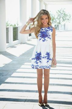 a perfect blue and white dress