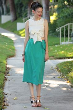 ASOS bow crop top, teal midi skirt, ShoeMint wedge sandals + pink lips