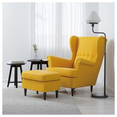 IKEA offers everything from living room furniture to mattresses and bedroom furniture so that you can design your life at home. Check out our furniture and home furnishings! Chaise Ikea, Ikea Chair, Ikea Yellow Chair, White Chairs, Yellow Accent Chairs, Yellow Couch, Upholstered Chairs, Strandmon Ikea, Home Furniture