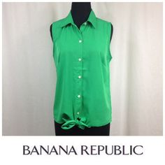 NEW LISTING Emerald Green Tie Bottom Top Beautiful color.  Button front, tie bottom. Banana Republic Tops Blouses
