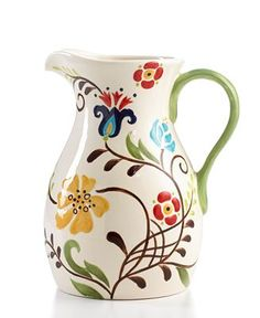 Vida by Espana Dinnerware, Jardine Collection - Casual Dinnerware - Dining & Entertaining - Macy's Pottery Painting, Ceramic Painting, Ceramic Art, 222 Fifth Dinnerware, Casual Dinnerware, Posca, Bottle Painting, Pottery Designs, Painted Pots