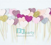 40PCS Custom Handmade Princess pink Heart Wedding Cupcake Toppers, baby Girls Birthday Party Decoration,Dessert fruit Topper(China (Mainland))