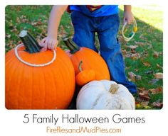 """Pumpkin Ring Toss -- First, I created rings out of rope, wooden beads, and glue. I then  grouped our pumpkins together and invited the boys to try to """"ring the stems!"""" We all enjoyed the simplicity of this seasonal version of ring toss."""