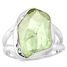 Green Amethyst Rough 925 Sterling Silver Ring Jewelry s.6.5 GARR67
