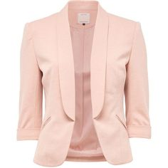 SHORT BLAZER - Only ($55) ❤ liked on Polyvore featuring outerwear, jackets, blazers, short blazer, pink jacket, short jacket, pink blazer and blazer jacket
