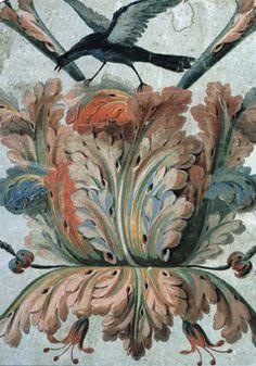 Démarrage de feuilles d'acanthe sur un papier peint du XVIIIe siècle