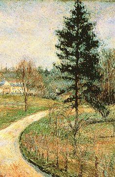"""Camille Pissarro (1830-1903) ~ """"Osny, Château de Busagny"""", 1884 (Détail) ~ Huile sur Toile Originale 54 x 65 cm"""