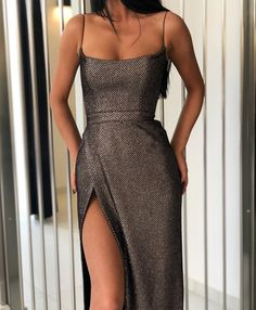 boutiquefeel / Shiny Spaghetti Strap High Slit Evening Dress - Suknia na studniówkę Belted Dress, Dress Skirt, Dress Up, High Slit Dress, Dress Prom, Pretty Dresses, Beautiful Dresses, Elegant Dresses, Sexy Dresses