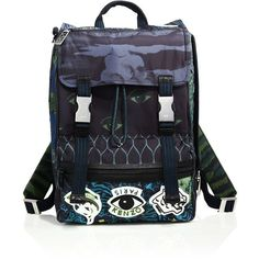 KENZO Printed Nylon Backpack (9.595 ARS) ❤ liked on Polyvore featuring men's fashion, men's bags, men's backpacks, apparel & accessories, multicolored and kenzo