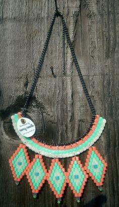 Ladies Woven Hama Bead Collar in por NancyNoodleDesigns en Etsy