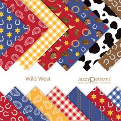Wild West digital paper pack for scrapbooking by JazzyPatterns, $5.50