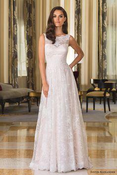 justin alexander bridal fall 2016 sleeveless bateau neck lace aline wedding dress (8857) mv