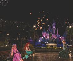 Rapunzel, Ariel, and Anna in Disney World with floating lanterns