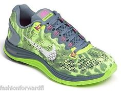 Auth Womens NIKE Lunarglide+ 5 PRM Leopard Green Grey Sneakers Sz 8.5 NIB
