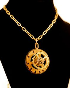 Steampunk Clock Gear Necklace by CodachromeCreations on Etsy   Handmade item Cost:$25 usd Length: 20 - 28 inck inches Materials: Vintage clock parts, Jump rings Ships worldwide from Thousand Oaks, California
