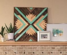 This bright and dynamic wood wall art hanging was handcrafted and designed in our shop, with a close eye to each detail in the process. Aqua