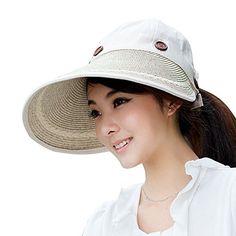 c3a071d6dc6 Hats Women Wide Large Brim Floppy Summer Beach Sun Hat Straw Hat Button Cap Summer  Hats For Women Anti-uv Visor Cap Female