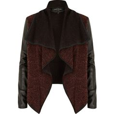 River Island Red leather look sleeve waterfall jacket (1.130 UYU) ❤ liked on Polyvore featuring outerwear, jackets, casacos, leather jackets, river island, faux leather waterfall jacket, brown jacket, vegan leather jacket, waterfall jacket and vegan jackets