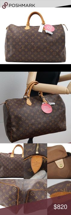 """LOUIS VUITTON SPEEDY 40 AUTHENTIC GENTLY USED LOUIS VUITTON SPEEDY 40: Overall: Good pre-owned condition with some signs of use. Refer to pics for 2 small marks Outside: Light signs of use Inside: Clean condition light signs of use. Canvas: Gentle signs of use Cowhide leather: Darkened patina/color, scratches Shape: Keeps its shape nice and stiff with very gentle use Edges: General signs of use Hardware: Light signs of use scratches Date code: SP0011 Size: 15.7 x 9.8 x 7.5 inches  Made"""" in…"""