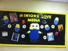 Library media bulletin board minions