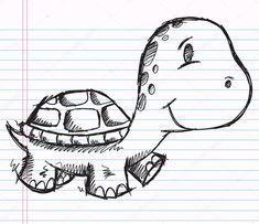 Herunterladen - Notebook Doodle Skizze Schildkröte — Stockillustration #8808673