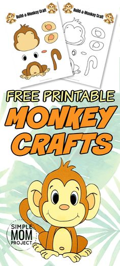 Click here to print this super cute and easy baby monkey craft! He comes with two free printable monkey templates and is perfect for kids of all ages; including preschoolers and toddlers. Color and create your Monkey craft, then take him swinging through your own home made jungle! #monkeycrafts #papermonkeycraft #monkeycraftsforkids #easydiycraftsforkids Safari Animal Crafts, Jungle Crafts, Giraffe Crafts, Monkey Crafts, Animal Crafts For Kids, Crafts For Kids To Make, Printable Crafts, Free Printables, Printable Templates
