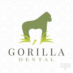 Simple and creative logo that combines a tooth shape within the white space of the gorilla's body. (gorilla, monkey, animal, lowland, kong, africa, zoo, ape, mammal, power, african, standing, primate, powerful, species, wild, nature, dental, tooth, hygienist, medical, healthy, dentistry, mouth, growth, orthodontic, grass)